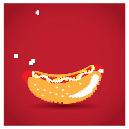 pixeled: Isolated pixeled hot dog on a red background