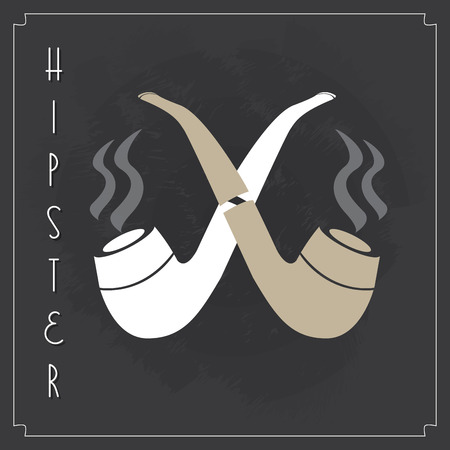 pipe smoking: Smoking pipe, Hipster icons, vector