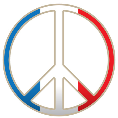 french flag: Isolated peace symbol, French flag, Vector illustration