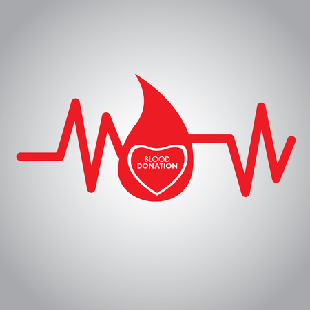 cardiogram: Cardiogram with text, Blood donation, Vector illustration