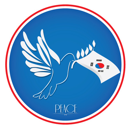 korean flag: Isolated south korean flag, Pigeon, Conceptual peace, Vector illustration Illustration