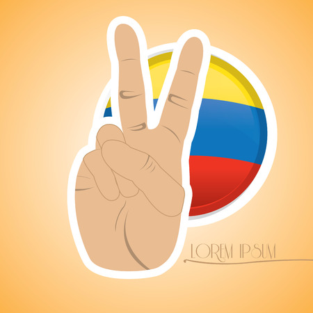 colombian flag: Isolated colombian flag, Conceptual peace, Vector illustration Illustration
