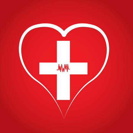 transfuse: Heart with a cross, Blood donation, Vector illustration Illustration