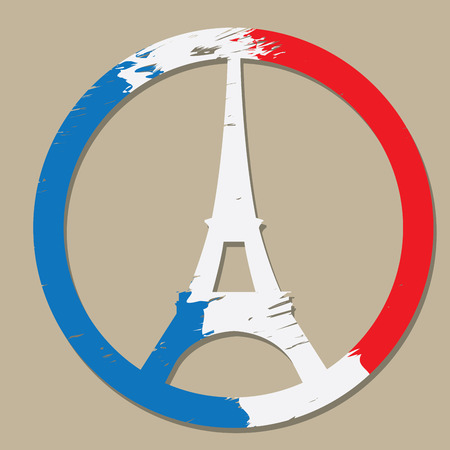 Eiffel tower, French flag, Conceptual peace, Vector illustration
