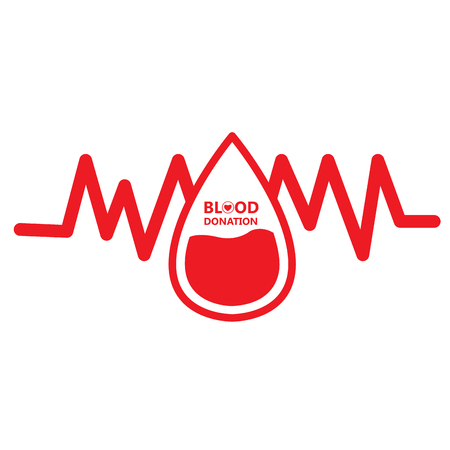 Isolated cardiogram with a drop, Blood donation, Vector illustration Illustration