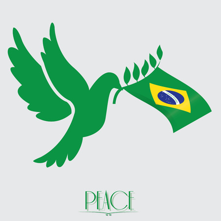 brazilian flag: Isolated brazilian flag, Pigeon, Conceptual peace, Vector illustration