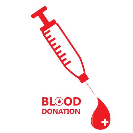 transfuse: Isolated syringe, drop shape, Blood donation, Vector illustration