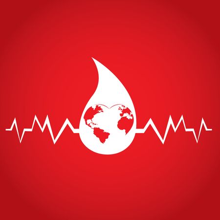 Isolated cardiogram waves, Blood donation, Vector illustration
