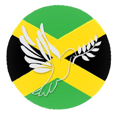 jamaican flag: Isolated jamaican flag, Pigeon, Conceptual peace, Vector illustration Illustration