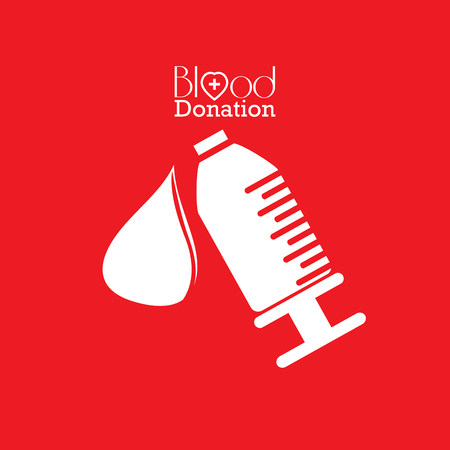 transfuse: Isolated syringe with a drop, Blood donation, Vector illustration