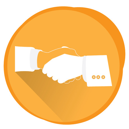 handshaking: Isolated handshaking silhouette, Business icon, Vector illustration
