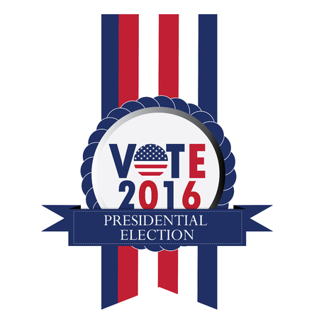 Isolated banner with text and a ribbon , Election day, Vector illustration