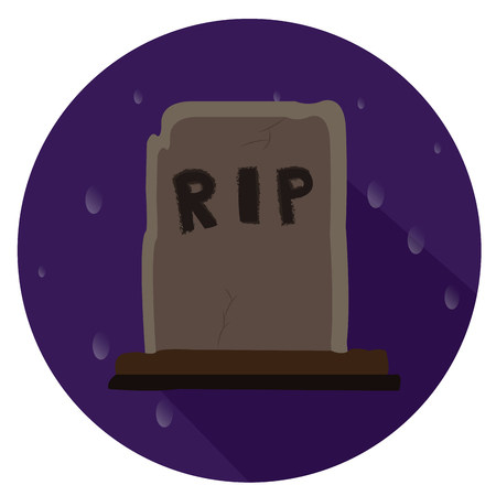 tomb: Isolated halloween tomb icon on a stamp, Vector illustration