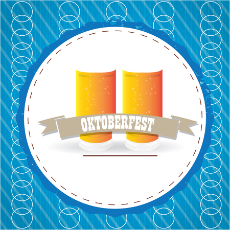 pair of glasses: Oktoberfest label design with a pair of beer glasses, Vector illustration