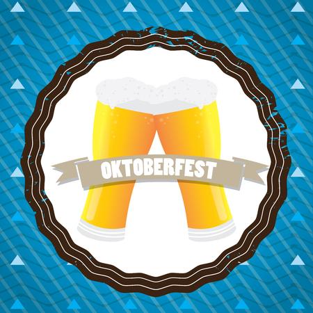 pair of glasses: Oktoberfest vintage label design with a pair of beer glasses, Vector illustration