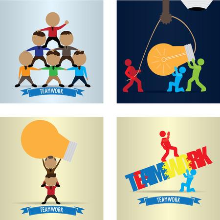 Set of Business teamwork concept designs, Vector illustration Illustration
