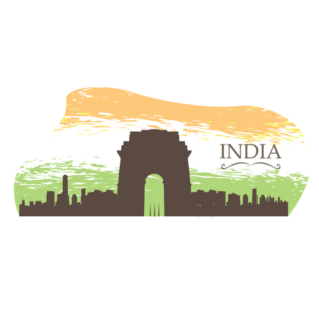 Isolated skyline of New Delhi on a colored background