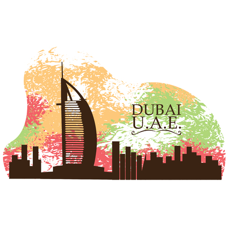 Isolated skyline of Dubai on a colored background Illustration