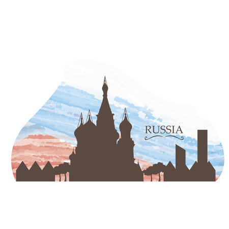 moscow city: Isolated skyline of Moscow on a colored background