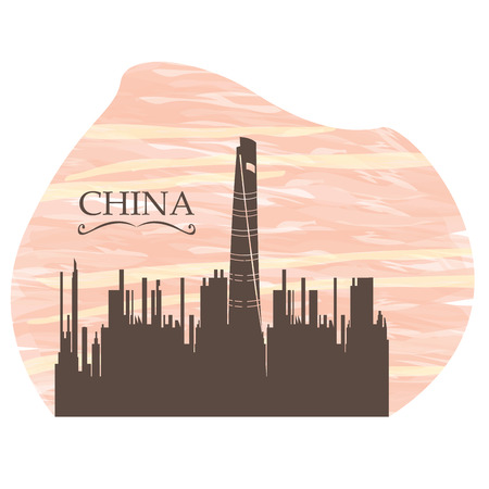 metropolis image: Isolated skyline of Shanghai on a colored background