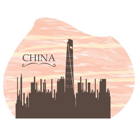 shanghai skyline: Isolated skyline of Shanghai on a colored background