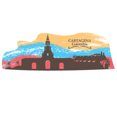Isolated skyline of Cartagena on a colored background