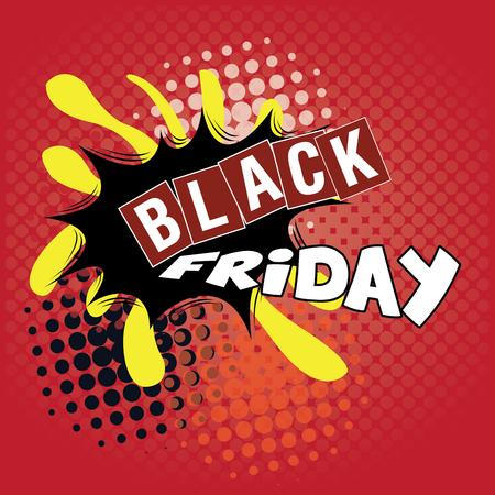 Black friday pop art graphic design, Vector illustration Illustration