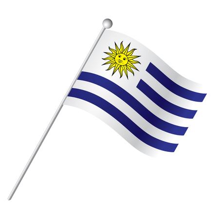 bandera de uruguay: bandera aislada de Uruguay, ilustración vectorial Vectores