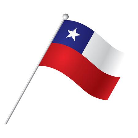 Aislado bandera de Chile, ilustración vectorial