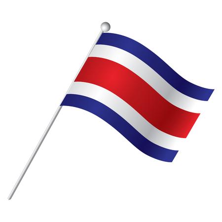 costa: Isolated flag of Costa Rica, Vector illustration Illustration