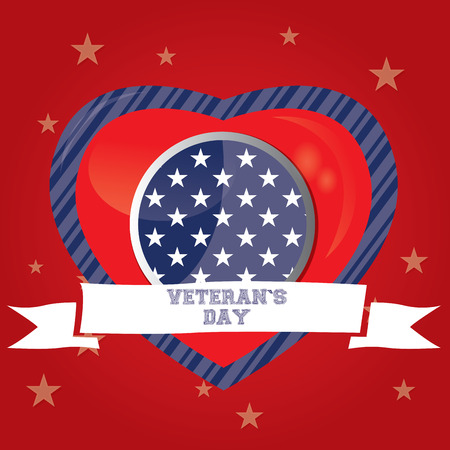 Veteran's day background with a heart and a ribbon, Vector illustration Vetores