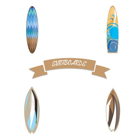 surfboards: Set of surfboards on white background, Vector illustration