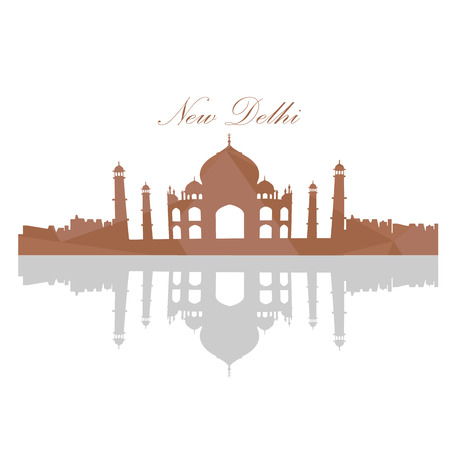 Isolated landscape of Taj mahal on a white background, Vector illustration