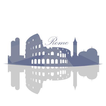 Isolata orizzonte Roma su uno sfondo bianco, illustrazione vettoriale