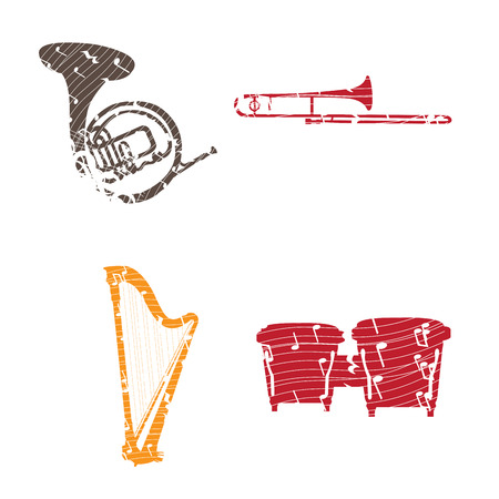 bongos: Set of collages of different musical instruments, Vector illustration
