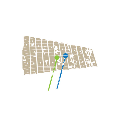 xilofono: Isolated collage of a xylophone, Vector illustration Vectores