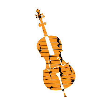 pentagramma musicale: Isolated collage of a violin, Vector illustration