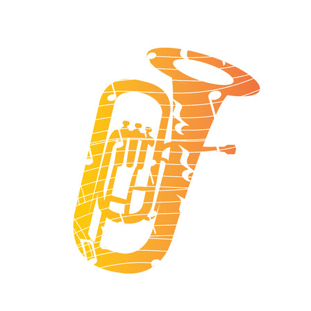 tuba: Isolated collage of a tuba, Vector illustration