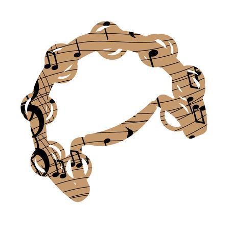 pentagramma musicale: Isolato collage di un tamburello, illustrazione vettoriale Vettoriali