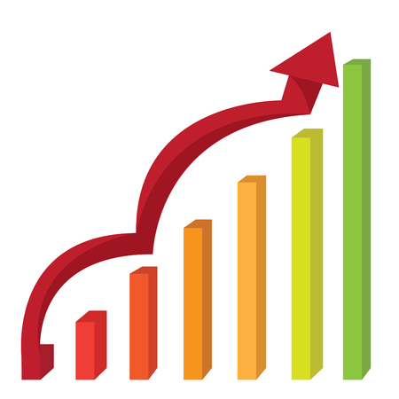 economic growth: Abstract profit business graph bar, Vector illustration Illustration