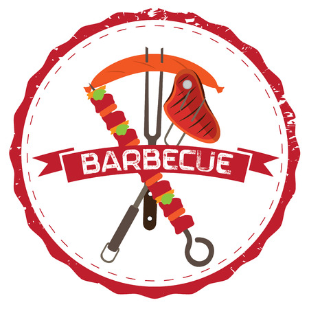 meats: Isolated barbecue label with different kind of meats, Vector illustration