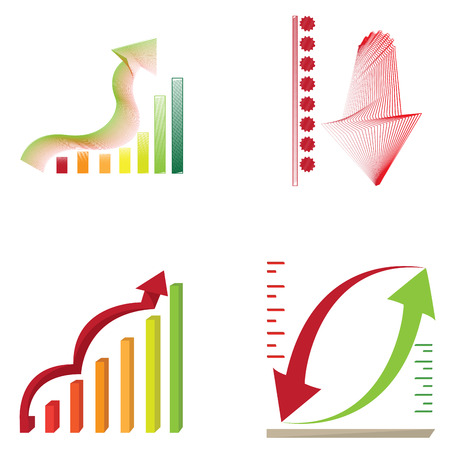 Set of business graph bars, Vector illustration