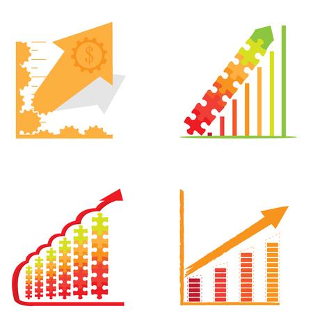Set of business graph bars, Vector illustration