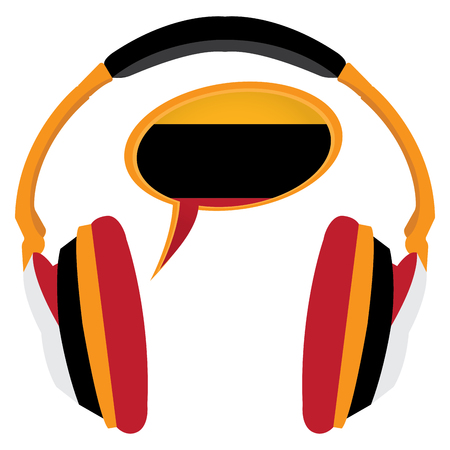 Learn german graphic design, Isolated headphones, Vector illustration