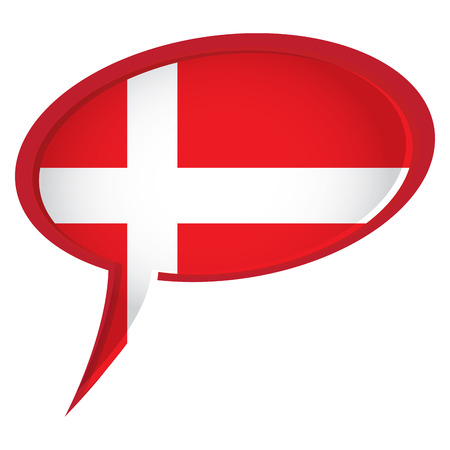 danish flag: Isolated danish flag on a bubble chat, Vector illustration