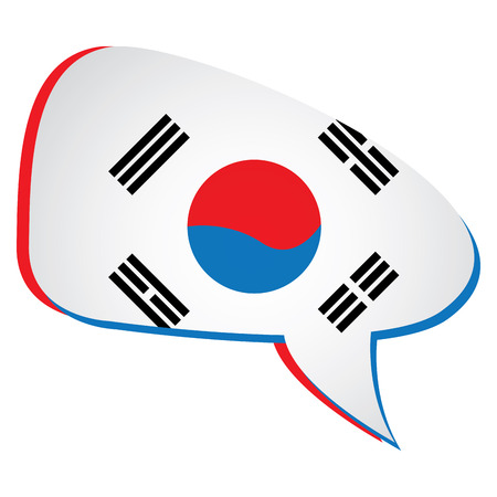 korean flag: Isolated south korean flag on a bubble chat, Vector illustration