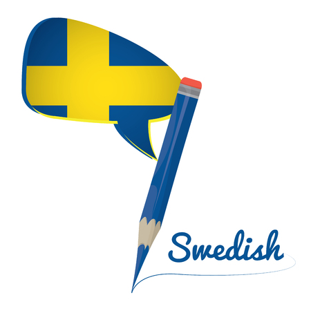 swedish: Learn swedish graphic design, Isolated pencil, Vector illustration