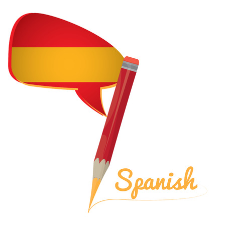Learn spanish graphic design, Isolated pencil, Vector illustration