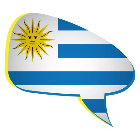 bandera de uruguay: Isolated flag of Uruguay on a bubble chat, Vector illustration