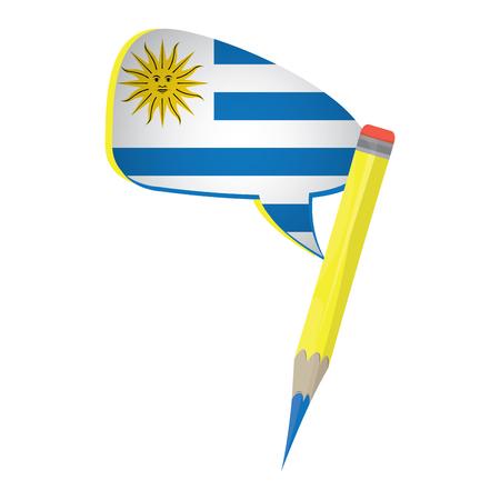 bandera de uruguay: Aprender diseño gráfico español, Lápiz aislado, ilustración vectorial
